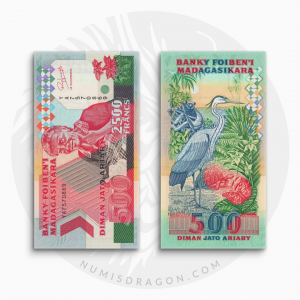NumisDragon_Africa_Madagascar_2500_Francs_500_Ariary_P72A_UNC