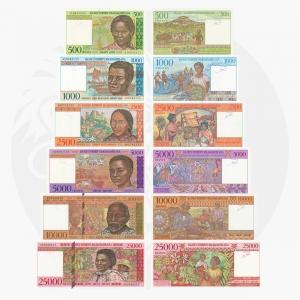 NumisDragon_Africa_Madagascar_500-1000-2500-5000-10000-25000_Francs_P75-P76-P78-P79-P81-P82_UNC