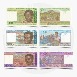 NumisDragon_Africa_Madagascar_500-1000-5000_Francs_P75-P76-P78_UNC