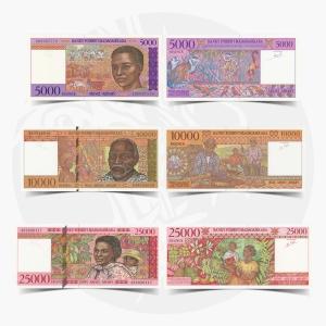 NumisDragon_Africa_Madagascar_5000-10000-25000_Francs_P78-P79-P82_UNC
