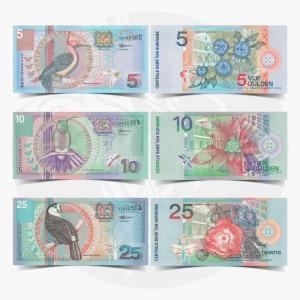NumisDragon_America_Suriname_5_10_25_Gulden_P146-P147-P148_GEM_UNC