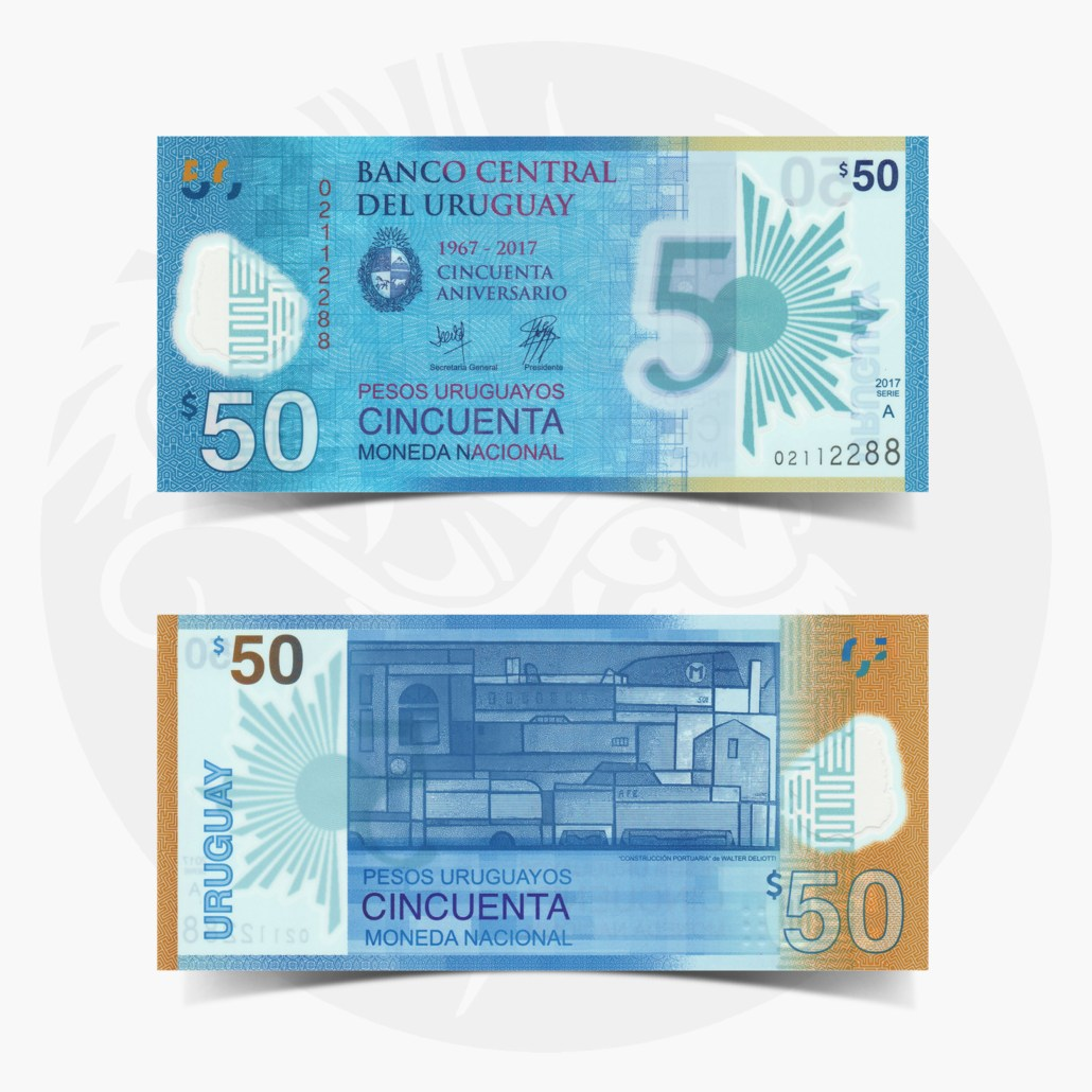 2017 P-New Polymer UNC Uruguay 50 Pesos