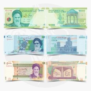 NumisDragon_Asia_Iran_10000-20000-50000_Rials_P159-P153-P155_PGEM_UNC