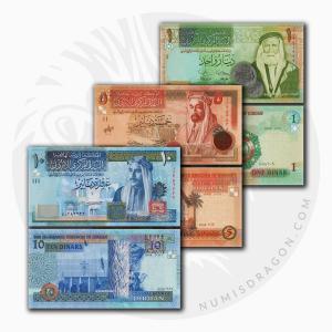 NumisDragon_Asia_Jordan_1-5-10_Dinars_P34-P35-P36_UNC