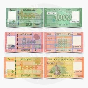 NumisDragon_Asia_Lebanon_1000-5000-10000_Livres_P90-P91-P92_UNC