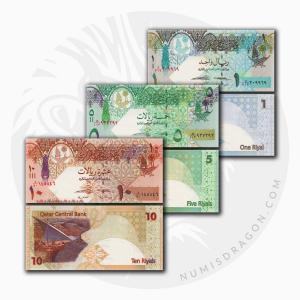 NumisDragon_Asia_Qatar_1-5-10_Riyals_P28-P29-P30_UNC
