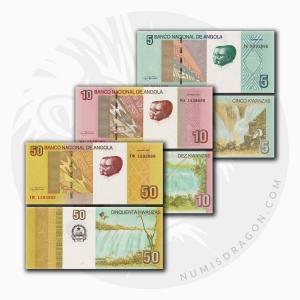 NumisDragon_Africa_Angola_5-10-50_Kwanzas_P151A-P151B-P152_UNC