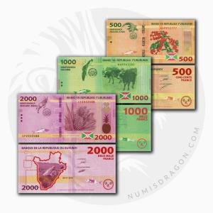 NumisDragon_Africa_Burundi_500-1000-2000_Francs_P50-P51-P52_UNC
