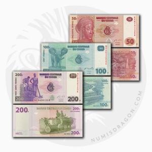 NumisDragon_Africa_Congo_50-100-500_Francs_P97-P98-P99_UNC