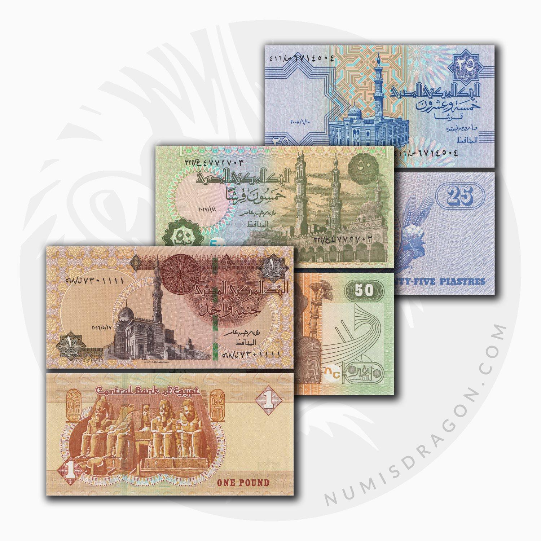 NumisDragon_Africa_Egypt_25-50_Piastres_1_Pound_P57-P70-P71_UNC