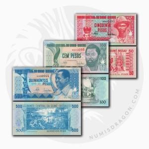 NumisDragon_Africa_Guinea-Bissau_50-100-500_Pesos_P10-P11-P12_UNC