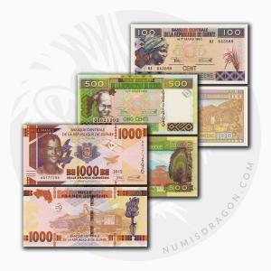 NumisDragon_Africa_Guinea_100-500-1000_Francs_PA47-P47-P48_UNC