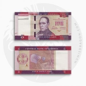 NumisDragon_Africa_Liberia_5_Dollars_P31_UNC