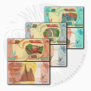 NumisDragon_Africa_Madagascar_100-200-500_Ariary_P97-P98-P99_UNC
