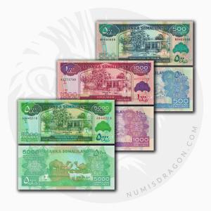 NumisDragon_Africa_Somaliland_500-1000-5000_Shillings_P6-P20-P21_UNC