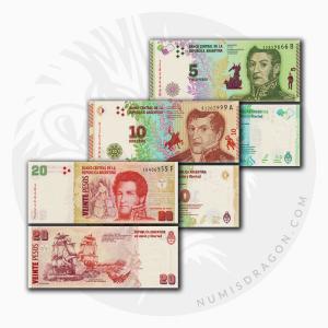 NumisDragon_America_Argentina_5-10-20_Pesos_P359-P360-P355_UNC