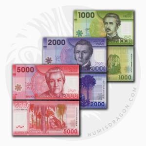 NumisDragon_America_Chile_1000-2000-5000_Pesos_P161-P162-P163_UNC