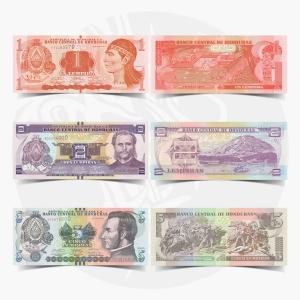 NumisDragon_America_Honduras_1-2-5_Lampiras_P96-P97-P98_UNC