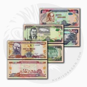 NumisDragon_America_Jamaica_50-100-500_Dollars_P94-P95-P85_UNC