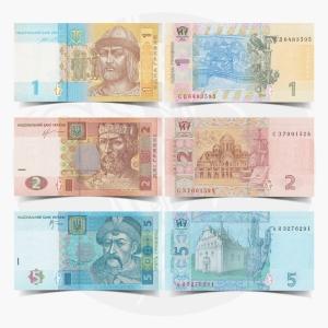 NumisDragon_Europe_Ukraine_1-2-5_Hryvnia_P116-P117-P118_UNC