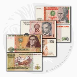 NumisDragon_America_Peru_50-100-500_Intis_P131-P133-P134_UNC