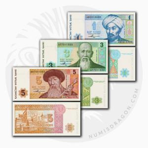 NumisDragon_Asia_Kazakhstan_1-3-5_Tenge_P7-P8-P9_UNC