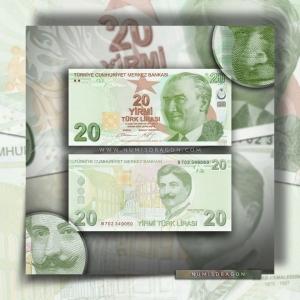 NumisDragon_Asia_Turkey_20_Liras_P224_UNC
